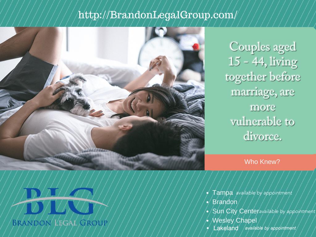 Divorce Facts  –  Living Together – Brandon Legal Group