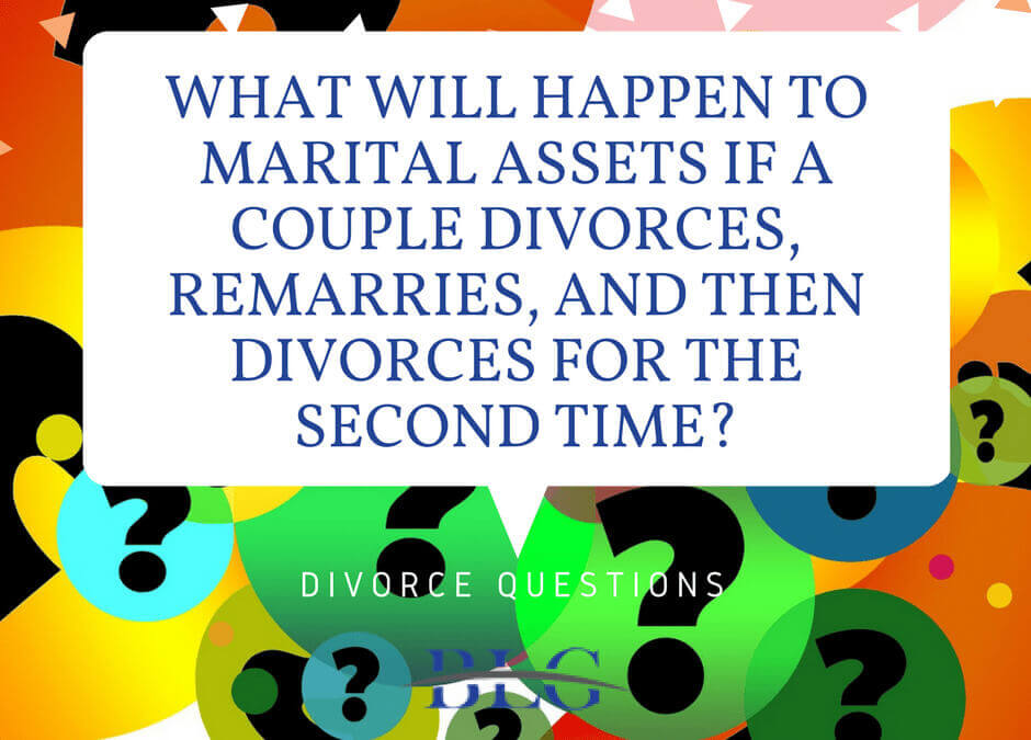 Divorce Questions – What will happen to marital assets if a couple divorces, remarries, and then divorces for the second time?